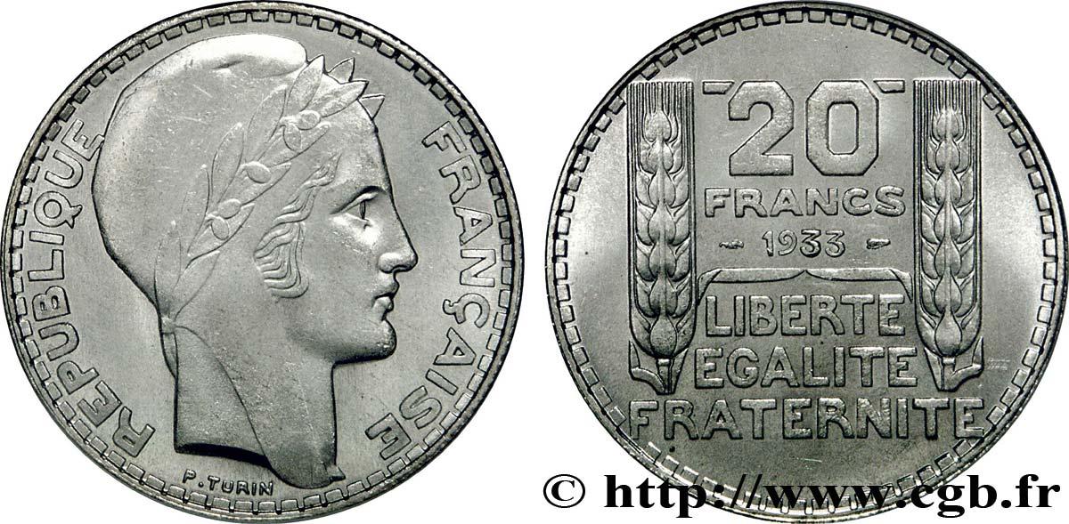 piece de monnaie 20 francs 1933