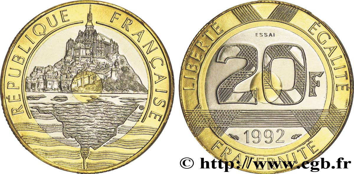 pi ce de monnaie 20 francs mont saint michel. Black Bedroom Furniture Sets. Home Design Ideas