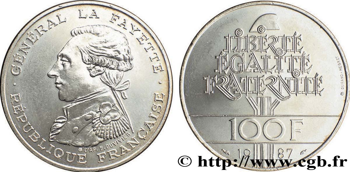 Piece De Monnaie 100 Francs Egalite La Fayette