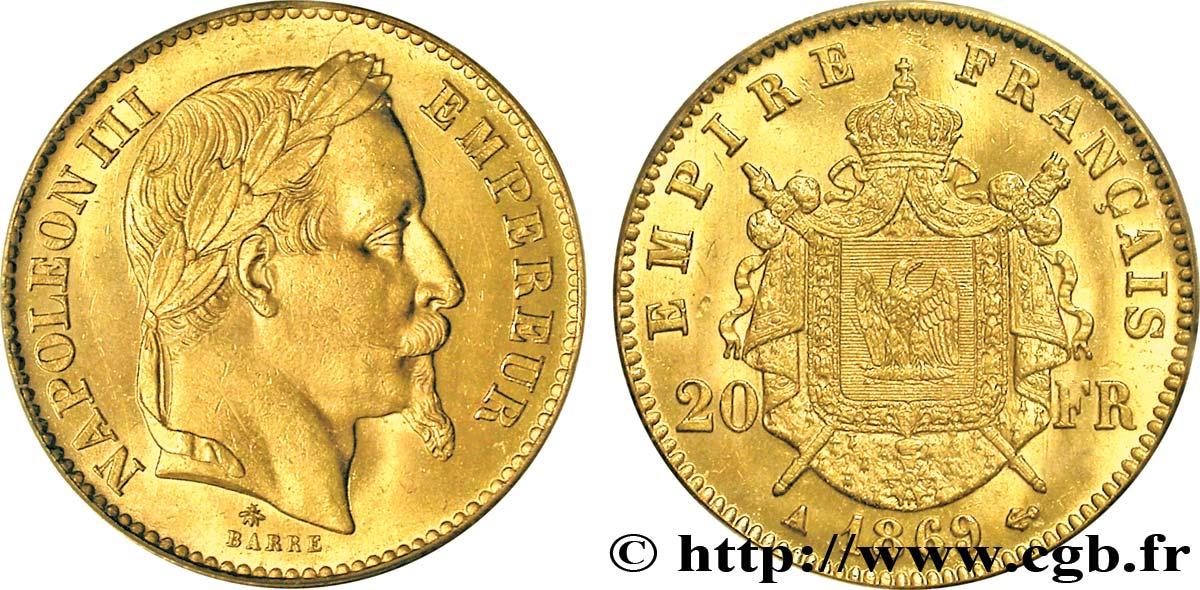 Pièce de monnaie 20 Francs NAPOLÉON III, TÊTE LAURÉE
