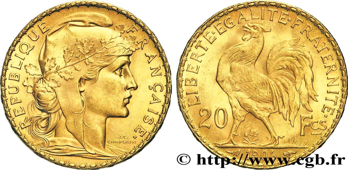 Pièce de monnaie 20 Francs COQ, TRANCHE INSCRITE : DIEU